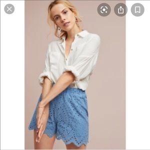 Anthropologie ett:twa eyelet lace blue shorts